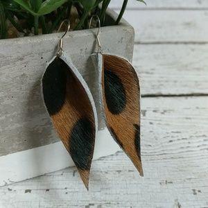 Jewelry - Geniune Brown & Black Leather earrings